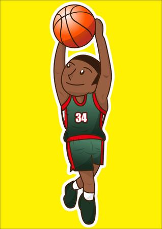 rebound: cartoon basketball player Illustration