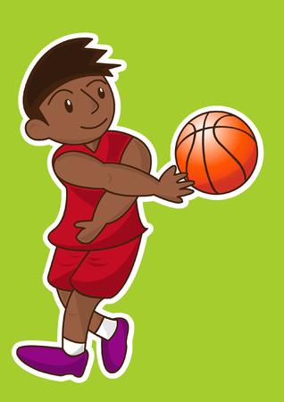 shadow match: cartoon basketball player Illustration