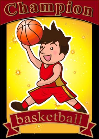 rebound: cartoon basketball player slam dunk Illustration