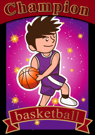 cartoon basketball player slam dunk Illustration