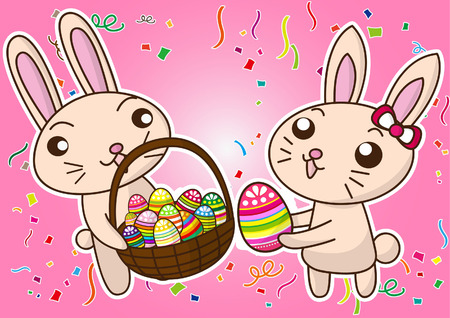colorful happy Easter with bunny and eggs Vector