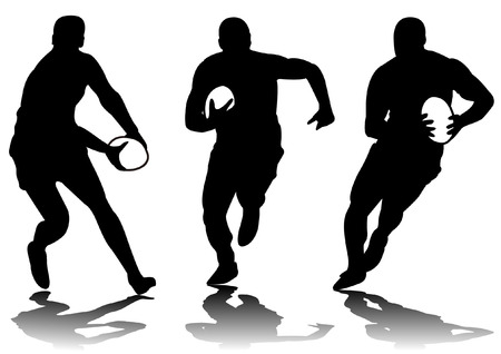rugby player: three rugby player silhouette