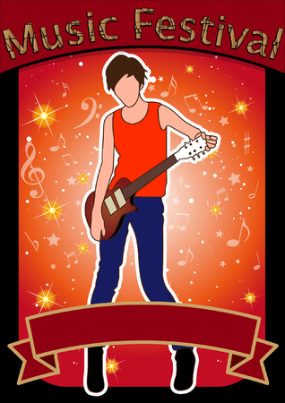 singer silhouette: the singer silhouette and music festival at colorful music item background