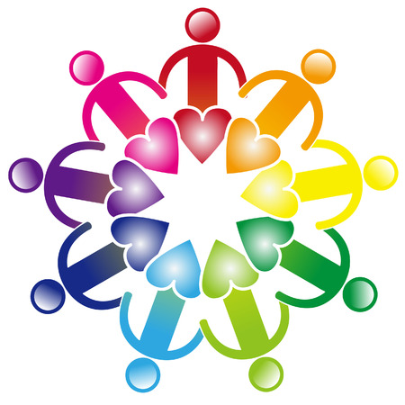 colorful friendship and heart together teamwork icon Vector
