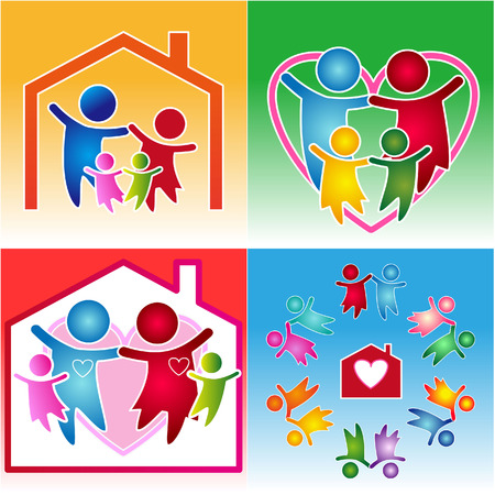 colorful family and heart together teamwork icon Vector