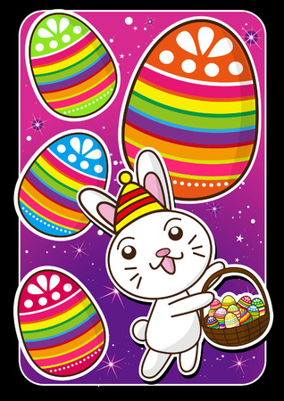 Happy Easter  bunny and eggs at the star background Vector