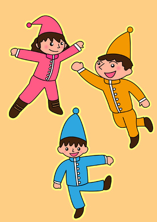 Cute small fairy in christmas costumes  Vector cartoon illustration  Vector