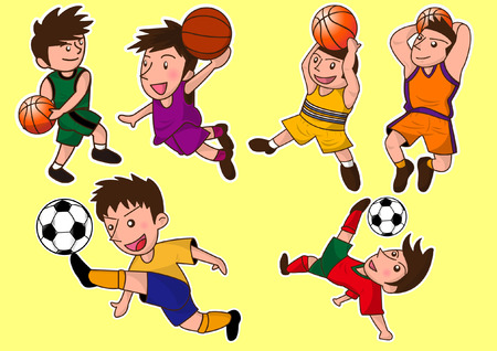 cartoon cute basketball and soccer player Vector