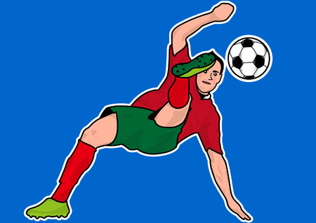 Soccer players bicycle kick silhouette Illustration