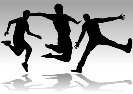 young people group: Una raccolta di uomo felice di saltare in silhouette Vettoriali