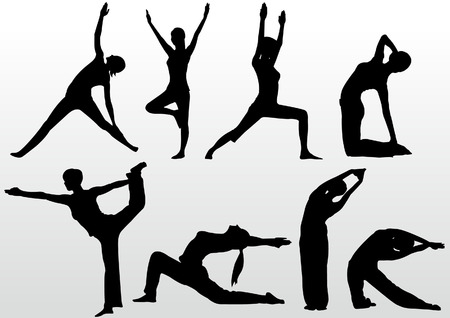 yoga pose women silhouette Vector