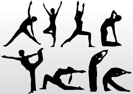peace movement: yoga pose women silhouette