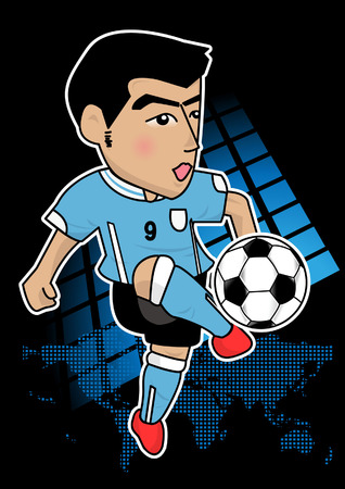uruguay: cartoon soccer player or sport man