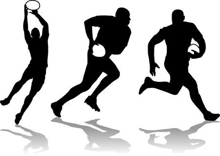 drie rugby speler silhouet Stock Illustratie