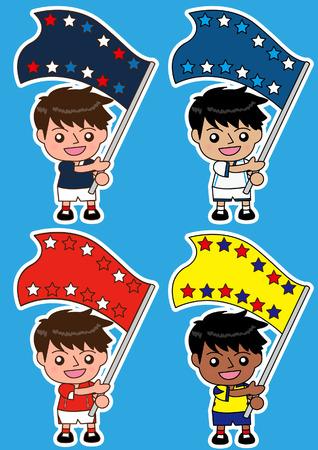 ecuador:  cartoon soccer Sport Fan with Flag