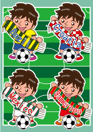 futbol soccer dibujos: Vector de dibujos animados de fútbol aficionado deportivo con la bufanda