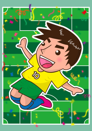 kicking ball: cartoon soccer player or sport man