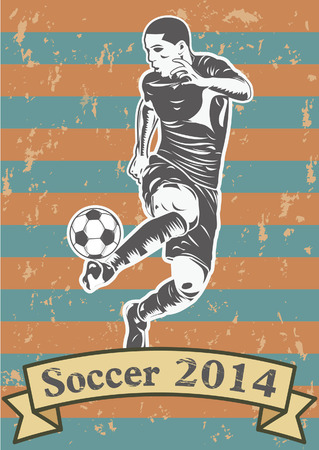 Soccer players silhouette or sports shadow poster Vector
