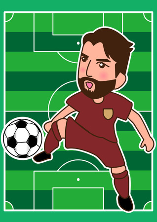 playoff: cartoon soccer player and sport man at the playground Illustration