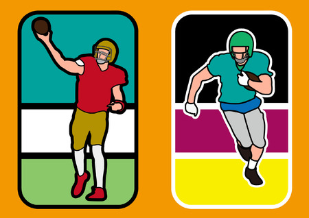 tackling: two american football players silhouett