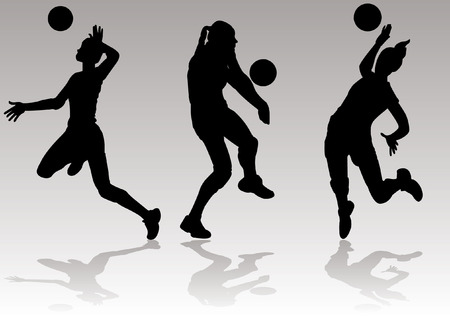 Vector  of Volleyball Silhouettes Spiking and Setting Ball Vector