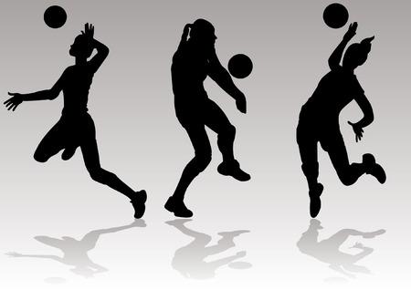 Vector van volleybal Silhouetten Spiking en Ball instellen