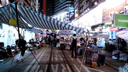 occupy movement: Umbrella revolution in Hong Kongs Causeway Bay at night Stock Photo