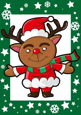happy christmas reindeer scarf and santa claus hat Vector