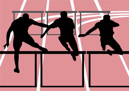 running race: vector illustration of hurdle race