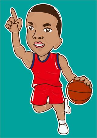 Cartoon basket bal speler pictogram