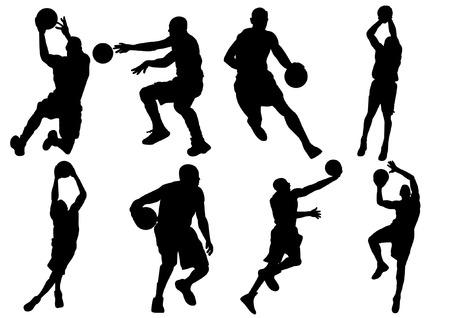 basketbalspeler schaduw Silhouet Stock Illustratie