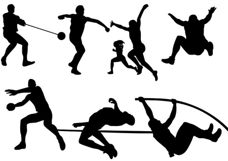 A set of  Sport Field and Track Game Athletic silhouette