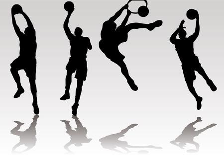 basket bal speler slam dunk en rebound schaduw Silhouet Stock Illustratie