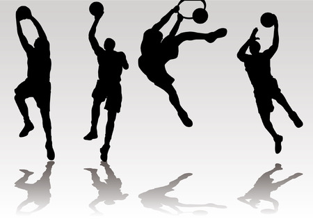 slam: basketball player slam dunk and rebound shadow Silhouette