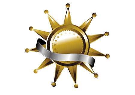 Gouden en banners met linten Stock Illustratie