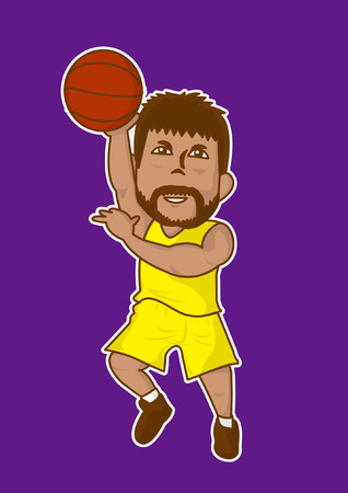 cartoon basketbalspeler slam dunk pictogram