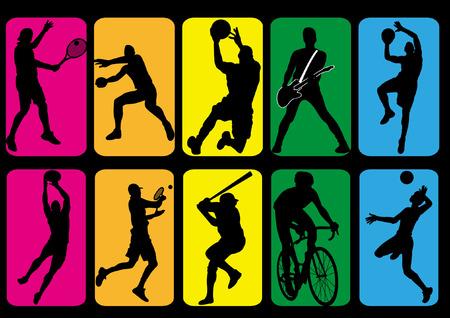 lanzamiento de bala: De deportistas silueta sombra, baloncesto, tenis, béisbol, voleibol, música, puesto tiro, bicicleta