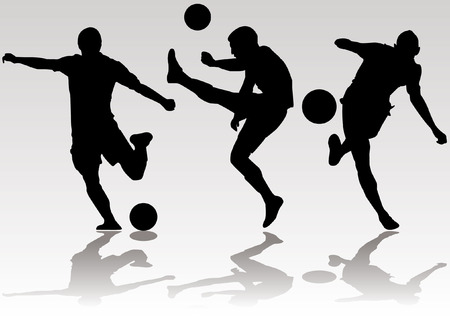 Soccer football player silhouettes