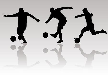 Vektor - Fußballspieler Silhouetten Standard-Bild - 35801157