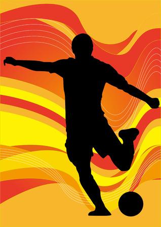 Vector - Soccer voetballer silhouet Stock Illustratie