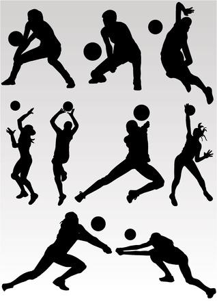 Vector van het spelen Volleyball