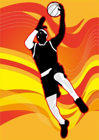 slam dunk: basketball player dunk shot shadow Silhouette Illustration