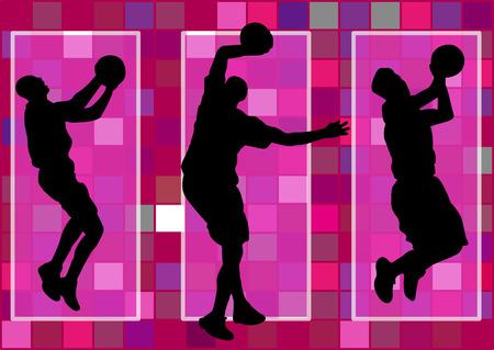 basketbalspeler dunk geschoten schaduw Silhouet Stock Illustratie