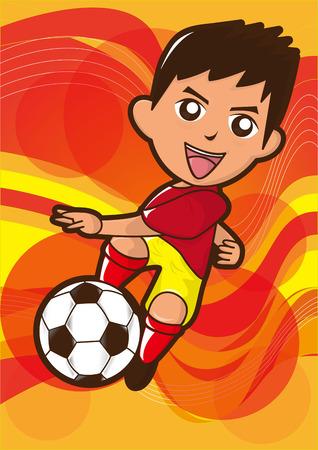 Cartoon Fußballspieler tritt den Fußball Standard-Bild - 36712630