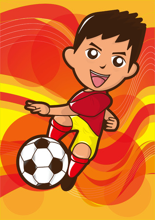 boys soccer: cartoon soccer player kicking the football