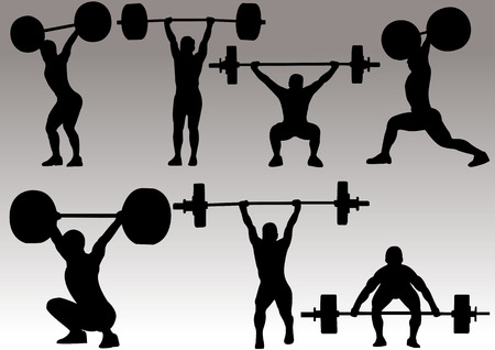weight lifter:   illustration of weight lifter athlete silhouette