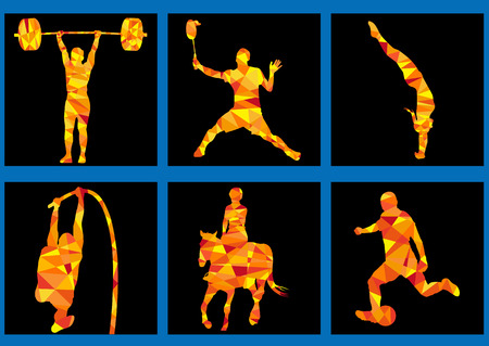 human energy:  games icons - weightlifting, horsemanship, dive
