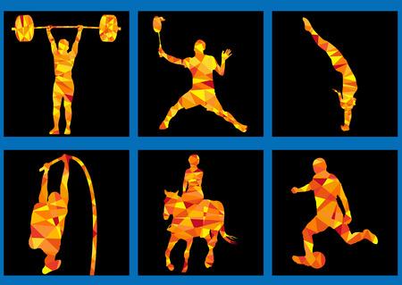 spelletjes iconen - gewichtheffen, paard: rijden, duik Stock Illustratie