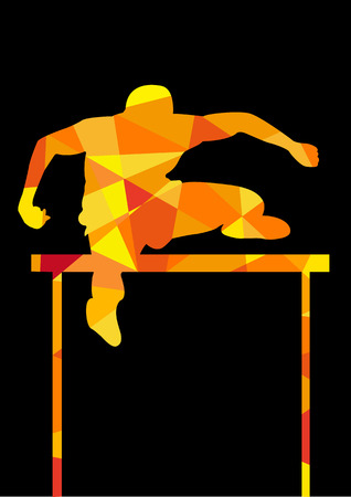 activity exercising: Game Hurdler Silhouette vector