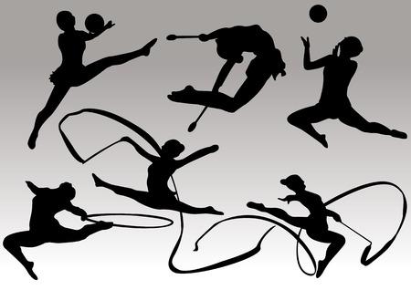 rhythmic: gymnastics silhouettes